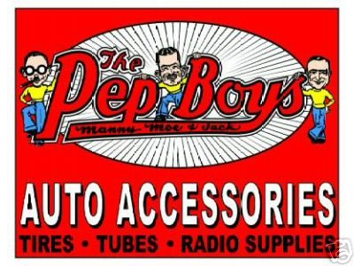 THE PEP BOYS AUTO ACCESSORIES TIN SIGN METAL ADV SIGNS
