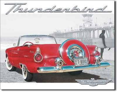 T-BIRD BEACH SCENE TIN SIGN METAL RETRO ADV SIGNS T