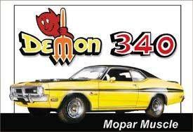 DEMON 340 MOPAR MUSCLE TIN SIGN RETRO METAL ADV SIGNS D
