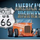 ROUTE 66 ROADSTER TIN SIGN METAL RETRO ADV SIGNS R
