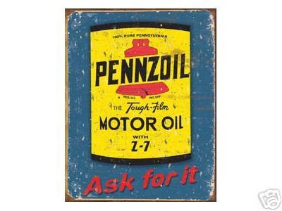 PENNZOIL MOTOR OIL TIN SIGN METAL ADV SIGNS P