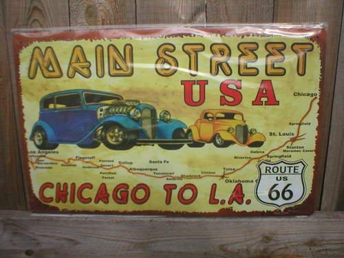 MAIN STREET USA CHICAGO TO LA TIN SIGN METAL ADV SIGNS