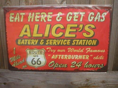 ALICE'S SERVICE STATION TIN SIGN METAL RETRO ADV SIGNS