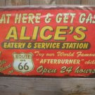 ALICE'S SERVICE STATION TIN SIGN METAL RETRO ADV SIGNS