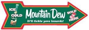 MOUNTAIN DEW ALUMINUM DIE-CUT ARROW TIN SIGN M