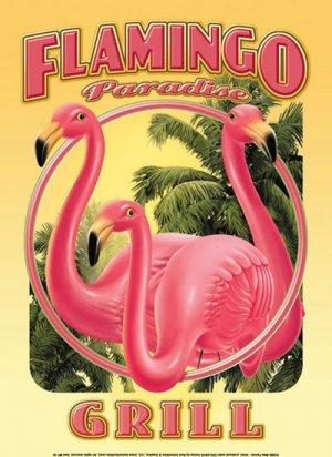 FLAMINGO PARADISE GRILL TIN SIGN METAL ADV AD SIGNS F