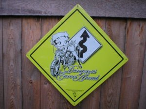 BETTY BOOP DANGEROUS CURVES AHEAD SIGN MOTORCYCLE SIGNS