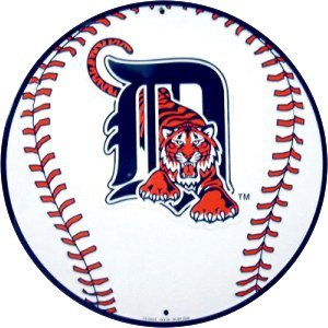 DETROIT TIGERS BASEBALL SIGN METAL ADV AD SIGNS D