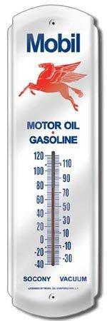 MOBIL PEGASUS GAS OIL TIN THERMOMETER SIGN METAL SIGNS