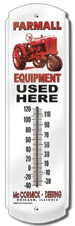 FARMALL EQUIPMENT THERMOMETER SIGN METAL ADV SIGNS F