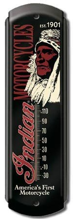INDIAN MOTORCYCLE THERMOMETER SIGN METAL ADV SIGNS E