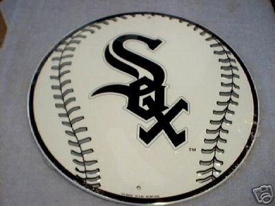 ROUND WHITE SOX BASEBALL SIGN METAL ADV AD SIGNS B