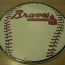 ROUND BRAVES BASEBALL SIGN METAL ADV AD SIGNS B