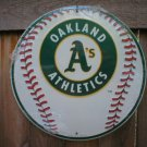 OAKLAND ATHLETICS ROUND ALUMINUM BASEBALL SIGN O
