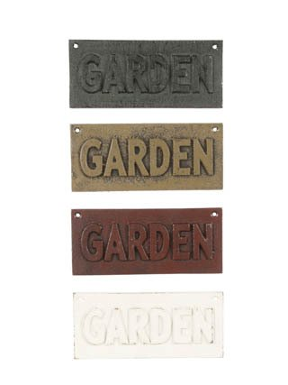 ONE TAN VINTAGE STYLE CAST IRON TAN GARDEN SIGN PLAQUE G