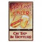 HOTDOGS & BEER TIN SIGN PIC METAL RETRO BAR FOOD SIGNS