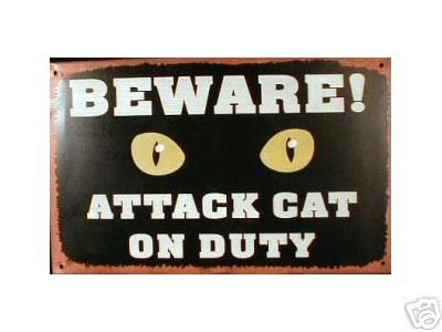 ATTACK CAT ON DUTY TIN SIGN PIC METAL HOME KITTY SIGNS