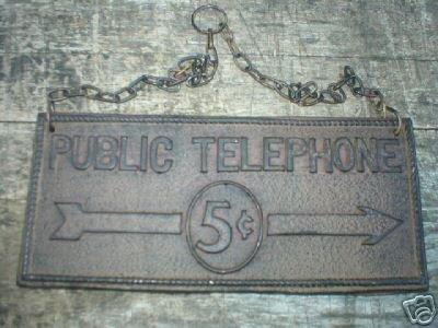 PUBLIC TELEPHONE SIGN  CAST IRON RUSTIC