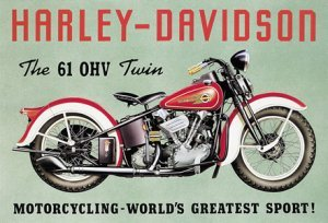 MOTORCYCLE TIN 61 OHV SIGN METAL ADV SIGNS H