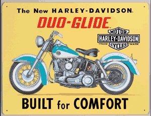 HARLEY DAVIDSON DUO-GLIDE MOTORCYCLE TIN SIGN H