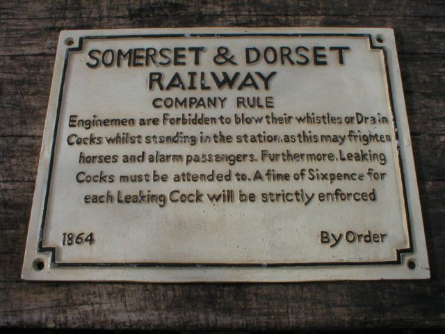 CAST IRON SOMERSET & DORSET RAILWAY CO RULES SIGN S