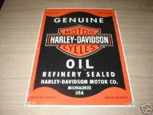 MOTORCYCLE MOTOR OIL PORCELAIN COATED SIGN H