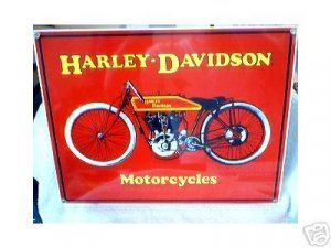 RED MOTORCYCLE PORCELAIN COATED SIGN H