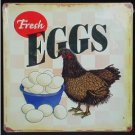 RETRO Metal DAIRY Ad Sign FRESH EGGS Tin CHICKEN Signs