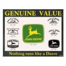 JOHN DEERE GENUINE VALUE TIN SIGN METAL ADV SIGNS J