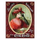 COCA-COLA SIGN VICTORIAN RED DRESS TIN SIGN C