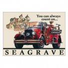 SEAGRAVE  FIRETRUCK TIN SIGN METAL ADV SIGNS F