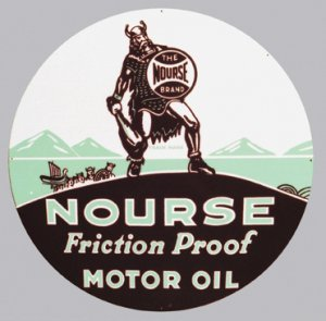 NOURSE MOTOR OIL SIGN COLLECTIBLE METAL ADV SIGNS NIB N