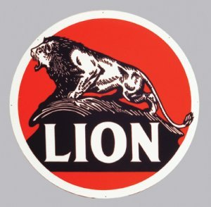 "LION 25.5"" STEEL SIGN BAKED ENAMEL METAL ADV AD SIGNS L"