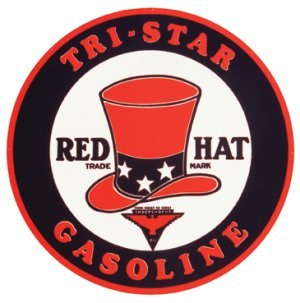 TRI-STAR GASOLINE - RED HAT SIGN METAL SIGNS NIB