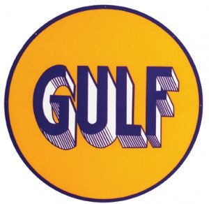 """GULF 25.5"""" STEEL SIGN BAKED ENAMEL ADV AD SIGNS G"""