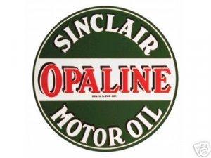 """SINCLAIR OPALINE MOTOR OIL HEAVY STEEL SIGN BAKED ENAMEL 25.5"""""""