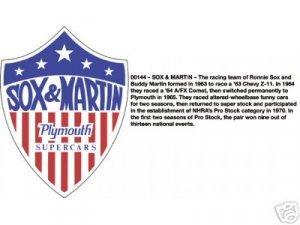 LARGE SOX & MARTIN PLYMOUTH SUPER CAR SIGN METAL SIGNS