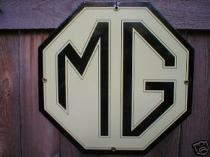 MG PORCELAIN COAT SIGN AUTO SPORTS CAR ADV SIGNS S
