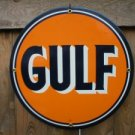 GULF GASOLINE PORCELAIN-OVERLAY SIGN METAL GAS SIGNS G