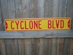 CYCLONE BLVD STREET SIGN RETRO ADV AD SIGNS C