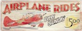 AIRPLANE RIDES TIN SIGN METAL RETRO BAR HOME SIGNS A