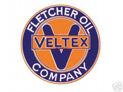 FLETCHER OIL COMPANY-VELTEX SIGNPAST SIGN METAL ADV SIGNS