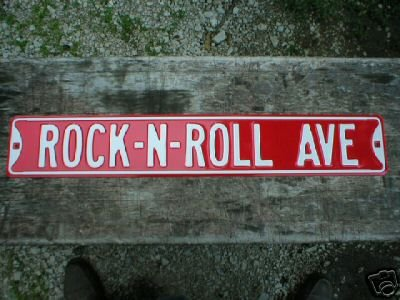 ROCK-N-ROLL AVE RED STREET SIGN
