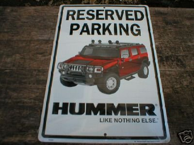 HUMMER RESERVED PARKING TIN SIGN  METAL ADV SIGNS
