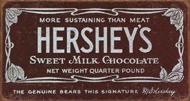 HERSHEY'S BAR TIN SIGN METAL RETRO ADV SIGNS H