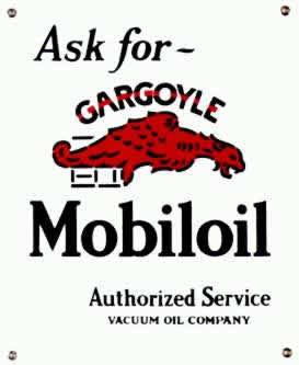 GARGOYLE MOBILOIL PORCELAIN-COATED ADV SIGN M