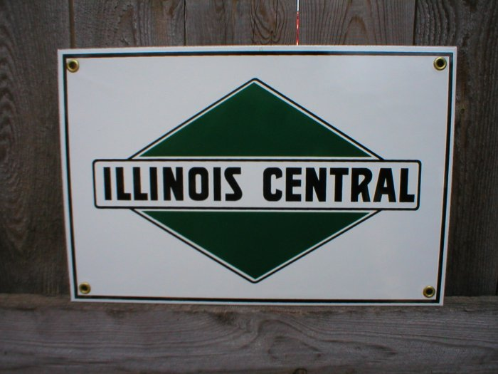 ILLINOIS CENTRAL RAILROAD PORCELAIN-COATED ADV SIGN P