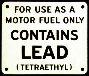 CONTAINS LEAD METAL GAS PUMP ADV SIGN L