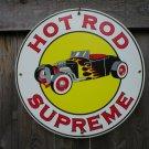 HOT ROD SUPREME PORCELAIN-COAT SIGN METAL AUTO SIGNS H