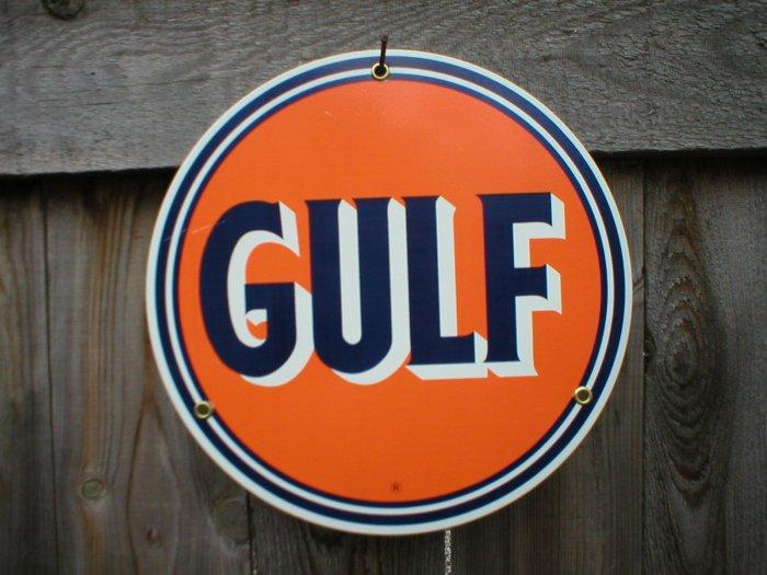GULF PORCELAIN-COAT SIGN METAL GASOLINE SIGNS S